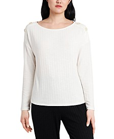 Callie Ribbed Button-Detail Top, Created for Macy's