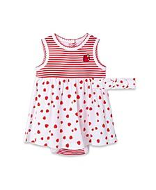 Baby Girls Strawberry Bodysuit Dress Set, 2 Piece