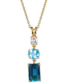 "Blue Topaz (3-1/2 ct. t.w.) & White Topaz (1/3 ct. t.w.) Triple Stone 18"" Pendant Necklace in Gold-Plated Sterling Silver"