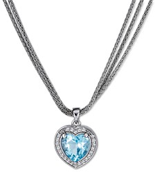 "Sky Blue Topaz (3 ct. t.w.) & White Topaz (1/3 ct. t.w.) Heart Triple Chain Pendant Necklace in Sterling Silver, 17"" + 1"" extender"
