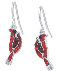 Crystal Cardinal Drop Earrings in Sterling Silver, Created for Macy's