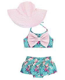 Baby Girls Bow Bikini Swim Hat Set