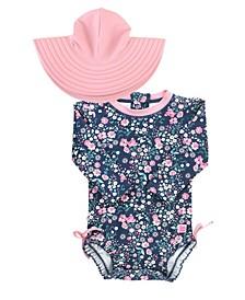 Baby Girls Ruffled 1-Piece Rash Guard Swim Hat Set