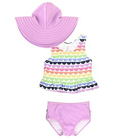 Baby Girls Peplum Tankini Swim Hat Set