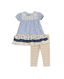 Little Girls Heather Legging Set with Lace Detail