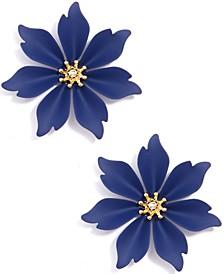 Gold-Tone Suede-Painted Jasmine Flower Stud Earrings