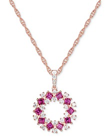 """Ruby (7/8 ct. t.w.) & Diamond (1/3 ct. t.w.) Circle 18"""" Pendant Necklace in 14k Rose Gold"""