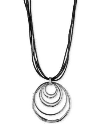 Image of Anne Klein Silver-Tone Orbital Pendant Necklace