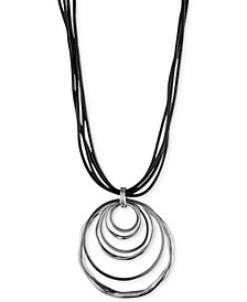 Anne Klein Silver-Tone Orbital Pendant Necklace