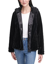 Hooded Faux-Fur Zip-Front Jacket