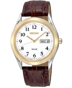 Seiko Men's Solar Brown Leather Strap Watch 38mm SNE056