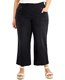 Plus Size Ella Wide-Leg Cropped Jeans, Created for Macy's