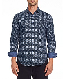 Tallia Men's Slim Fit Black/blue Geo Long Sleeve Shirt and a Free Face Mask With Purchase