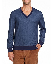 Tallia Men's Slim Fit Navy V Neck Sweater and a Free Face Mask With Purchase