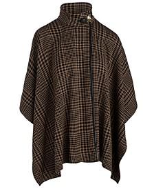 High-Neck Plaid Sweater Cape
