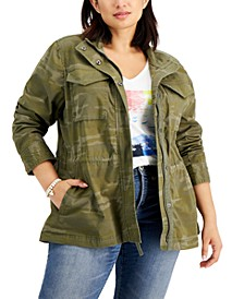 Plus Size Cotton Utility Jacket, Created for Macy's