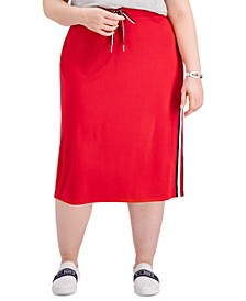 Plus Size Logo-Striped Midi Skirt, Created for Macy's