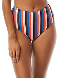 Striped High-Waist Bikini Bottom