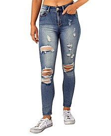 Juniors' Ripped High Rise Skinny Jeans