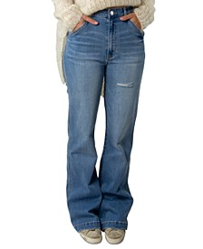 Juniors' Super High-Rise Trouser Wide Leg Jeans