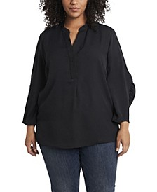 Women's Plus Ruched Sleeve Henley Top