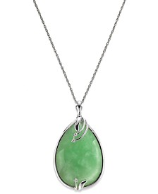 Sterling Silver Jade (25x35mm) and Diamond Accent Pendant Necklace