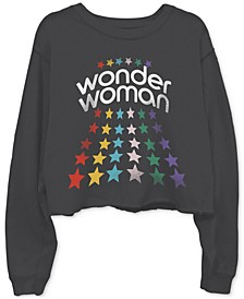 Cotton Wonder Woman-Graphic Cropped Raw-Edge Sweatshirt