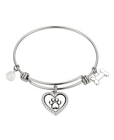 "Crystal ""I Love My Dog"" Paw Bangle Bracelet in Stainless Steel and Fine Silver Plated Charms"