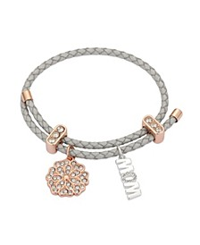 "Metallic Cord and Rose Gold Flash Fine Silver Plated Crystal Flower ""Mom"" Adjustable Charm Bracelet"
