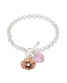 Rose Gold Two-Tone Pink Crystal Heart and Flower Toggle Bracelet in Fine Silver Plate