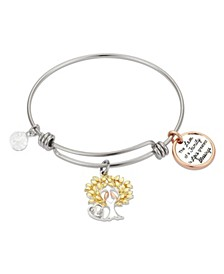 "Crystal ""The Love of Family"" Tree Adjustable Bangle Bracelet in Stainless Steel and Tri-Tone Fine Silver Plated Charms"