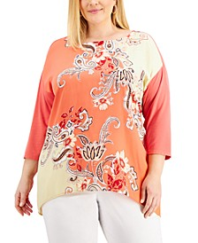 Plus Size Nadia Printed Drop-Shoulder Top, Created for Macy's