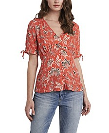 Women's Short Sleeve Antique Like Floral V-Neck Blouse