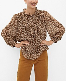 Women's Ruffles Printed Blouse