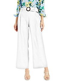 INC Pleated Buckled Wide-Leg Pants, Created for Macy's