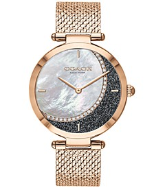 Women's Park Rose Gold-Tone Mesh Bracelet Watch 34mm