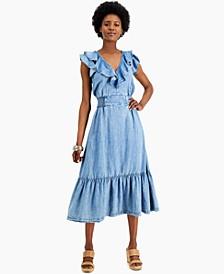 INC Ruffled Denim A-Line Dress, Created for Macy's