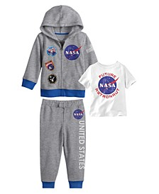 Little Boys NASA Hoodie with T-shirt and Fleece Pant Set, 3 Piece