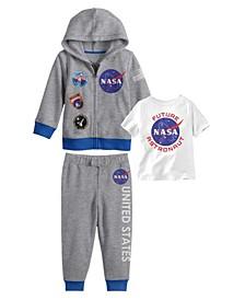 Toddler Boys NASA Hoodie with T-shirt and Fleece Pant Set, 3 Piece