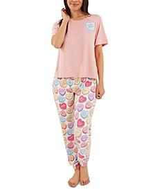 Candy Hearts Jogger Pants Pajamas Set