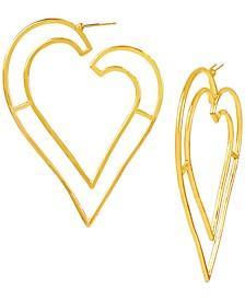 Gold-Tone Open Heart Drop Earrings