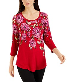 Floral-Print 3/4-Sleeve Top, Created for Macy's