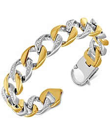 Men's Cubic Zirconia Two-Tone Cuban Link Bracelet in Stainless Steel & Yellow Ion-Plate