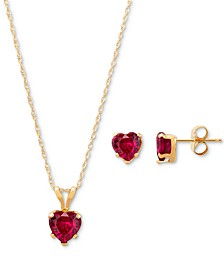 2-Pc. Set Created Ruby Heart Pendant Necklace & Matching Stud Earrings (3 ct. t.w.) in 10k Gold (Also in White Topaz, Amethyst & Rhodolite Garnet)