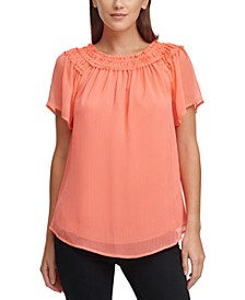 Ruched-Neck Top