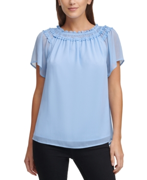 Dkny Smocked Trim Top In Skyline