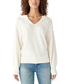 Embroidered Notch-Neck Sweater