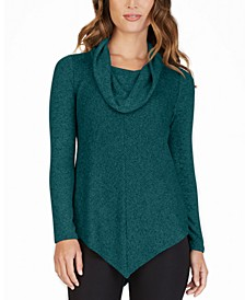 Juniors' Cowl-Neck Pointed-Hem Sweater