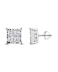 TrueMiracle® Diamond Princess Cluster Stud Earrings (2 ct. t.w.) in 14K White Gold