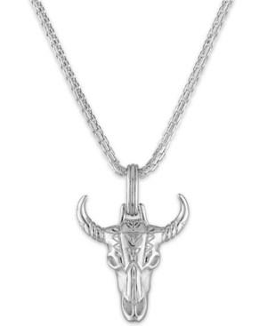 """Bull's Head 22"""" Pendant Necklace in Sterling Silver"""